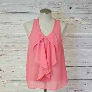 IZ Byer Coral Sheer Bow/Ruffle Tank Size S